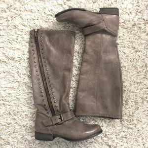 Steve Madden Gray Studded Knee High Boots Size 6.5